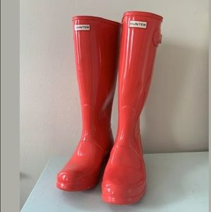 Hunter Rain Boots Womens Classic Tall Red Glossy